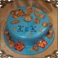172 Tort morski z muszelkami i perełkami, wakacyjny pomysł na tort urodzinowy