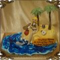 176 Tort tropikalny wyspa dla pani laski na 30  torebki woda delfin piasek
