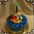 177  Tort na 30 urodziny palma leżak piwo woda wyspa  kitesurfing