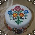 182 Tort ręcznie malowany folklor piękne kwiaty folkowy
