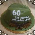 200 Tort w kształcie czapki myśliwego na 60 urodziny
