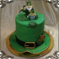 201 Tort w kształcie kapelusza zielona koniczynka Leprechaun irlandzki motyw  złoto