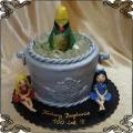 207 Tort w kształcie wiadra z lodem i butelka szampana plus dwie laski panie