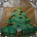 219 Tort zielony świąteczny w kształcie Choinki z ozdobami