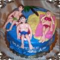 45 Tort rodzina na wyspie palma piasek woda rodzice i dziecka