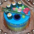 61 tort  talerz sushi z lukru z patyczkami