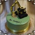 136 Tort żółta  koparka na  gąsienicach figurka z lukru, koparko ładowarka