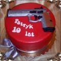 54 Tort czerwony z pistoletem na strzelnicę