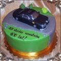 60 Tort urodzinowy z czarną figurką samochodu z lukru