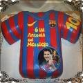 67 Tort koszulka piłkarska barwy Fc Barcelona ze zdjęciem Messiego
