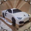 85 Tort samochód białe lamborghini przestrzenny