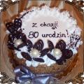 21 Tort okolicznościowy z rozetkami ze śmietany  na 80 urodziny