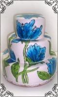 12 Tort na wesele z niebieskimi kwiatami ręcznie malowanymi Torty Artystyczne Cukiernia Pod Arkadami Kraków