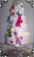 18 Tort na ślub z kolorowymi motylkami Torty Artystyczne Cukiernia Pod Arkadami Kraków