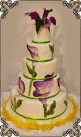 24 Tort weselny z ręcznie malowanymi z  kaliami Torty Artystyczne Cukiernia Pod Arkadami Kraków