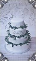 34 tort ślubny liście oliwne i inicjały styl angielski