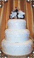 38 tort weselny koronka biały z motorem
