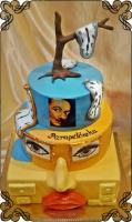 57 tort weselny z motywem Salvador Dali zegary nos oczy