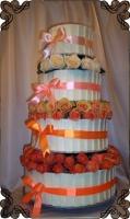 64 tort weselny z tabliczkami białej czekolady i żywe kwiaty ombre cake