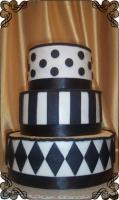 74 Tort na wesele w biało czarne romby kropki i paski Torty Artystyczne Cukiernia Pod Arkadami Kraków