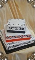 76 tort weselny kwadratowy malowany wzory