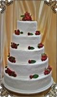 19 tort weselny świeże  maliny i wzorki styl angielski sezonowy
