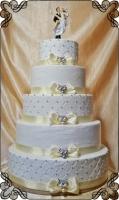 24 tort klasyczny weselny 5 poziomowy z figurka