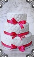 3 tort weselny pikowany klasyczny różowa wstążka
