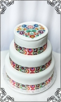 51 tort FOLK wstążka folkowa łowickie kolory