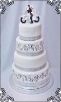 62 tort ślubny z motorem malowane wzorki