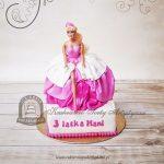 Tort z lalką Barbie w różowo-białej sukni balowej