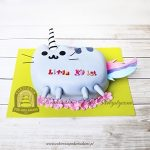 Tort facebookowy kot Pusheen - wersja jednorożec Pusheenicorn