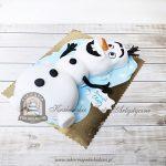 Tort w kształcie bałwana Olafa z bajki Frozen Kraina Lodu