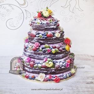 Tort weselny bez polewy - naked cake z owocami i kwiatami