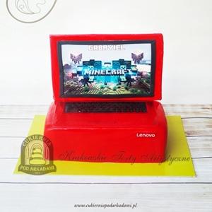 261BA Tort w kształcie laptopa z grą Minecraft