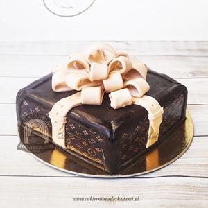 Tort kuferek Louis Vuitton z dużą kokardą
