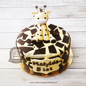 289BD Tort z żyrafą zdobiony czekoladowymi cętkami