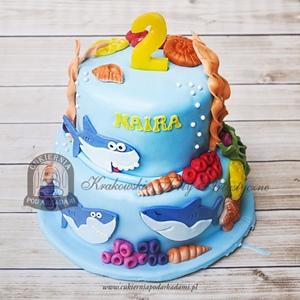 Tort w rekinami i muszelkami Baby Shark - wersja piętrowa