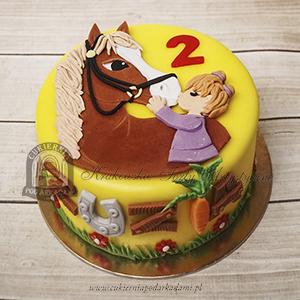 Tort z dziewczynką i konikiem