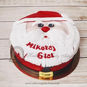 Tort mikołajkowy WESOŁY MIKOŁAJ z lukrowaną brodą, zamów tort