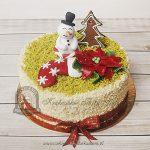 Tort ze świątecznym akcentami - bałwankiem, choinką i świąteczną skarpetą _blog