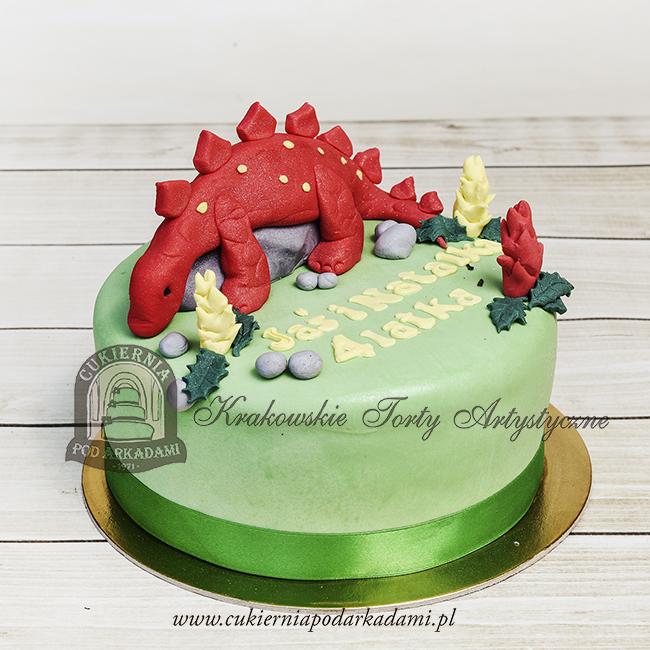 Tort z czerwonym dinozaurem stegozaurem blog