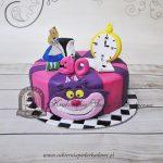 327BD Tort-Alicja-w-Krainie-Czarów z-figurką-Alicji-głową-kota-i-zegarem blog